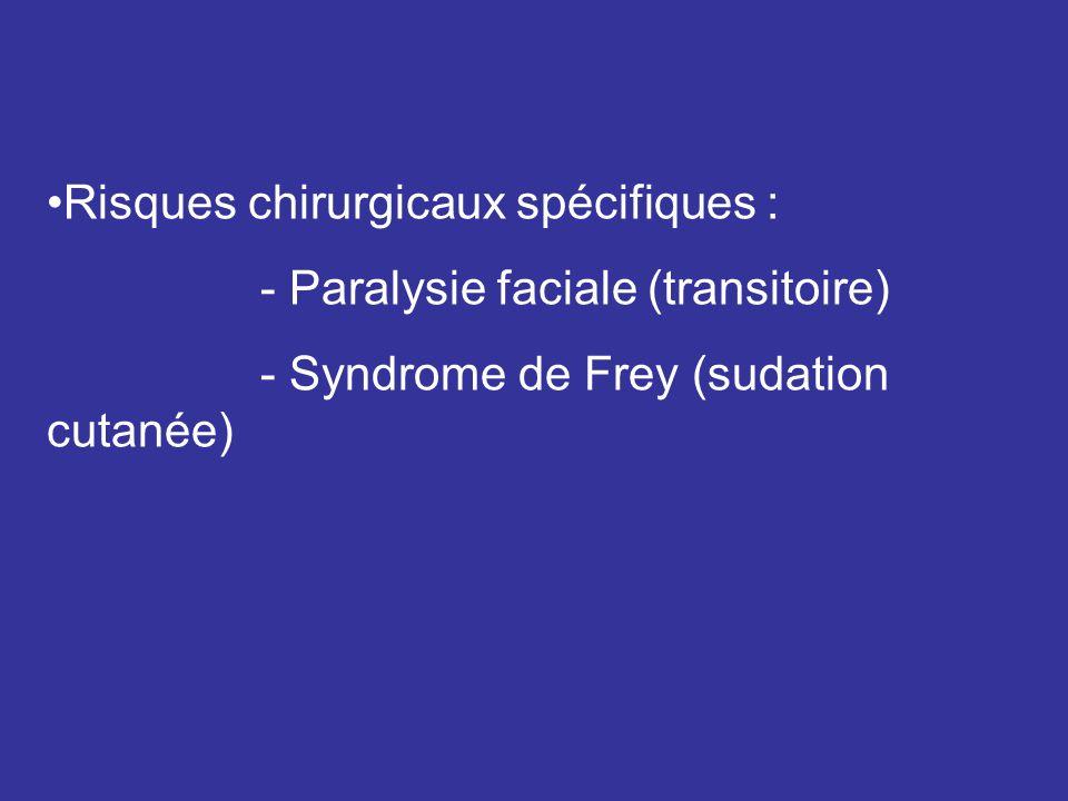 Risques chirurgicaux spécifiques : - Paralysie faciale (transitoire) - Syndrome de Frey (sudation cutanée)