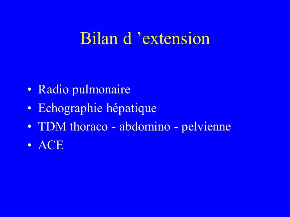 Bilan d extension Radio pulmonaire Echographie hépatique TDM thoraco - abdomino - pelvienne ACE