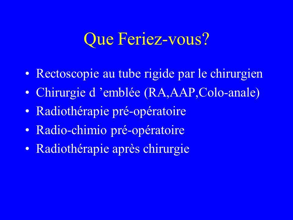 Ce qui a été fait Radiothérapie pré opératoire 45 Gys terminée le 10/09/01.