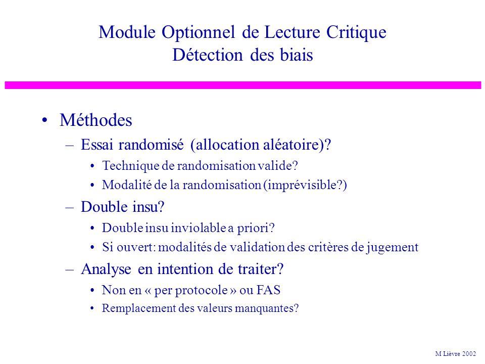 Méthodes –Essai randomisé (allocation aléatoire)? Technique de randomisation valide? Modalité de la randomisation (imprévisible?) –Double insu? Double