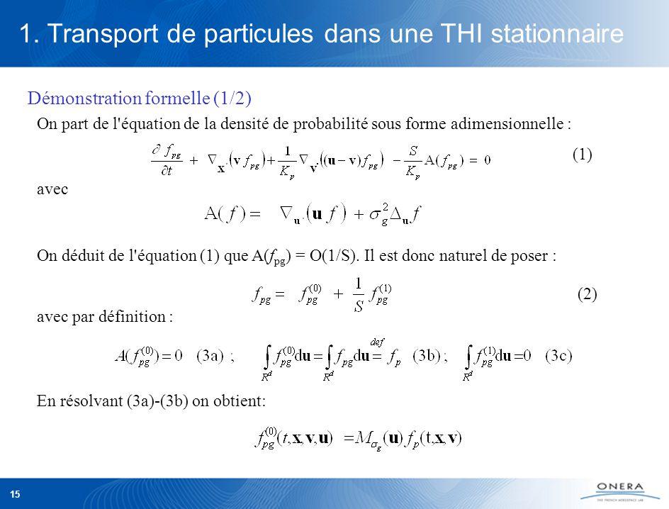 15 On part de l équation de la densité de probabilité sous forme adimensionnelle : avec On déduit de l équation (1) que A(f pg ) = O(1/S).