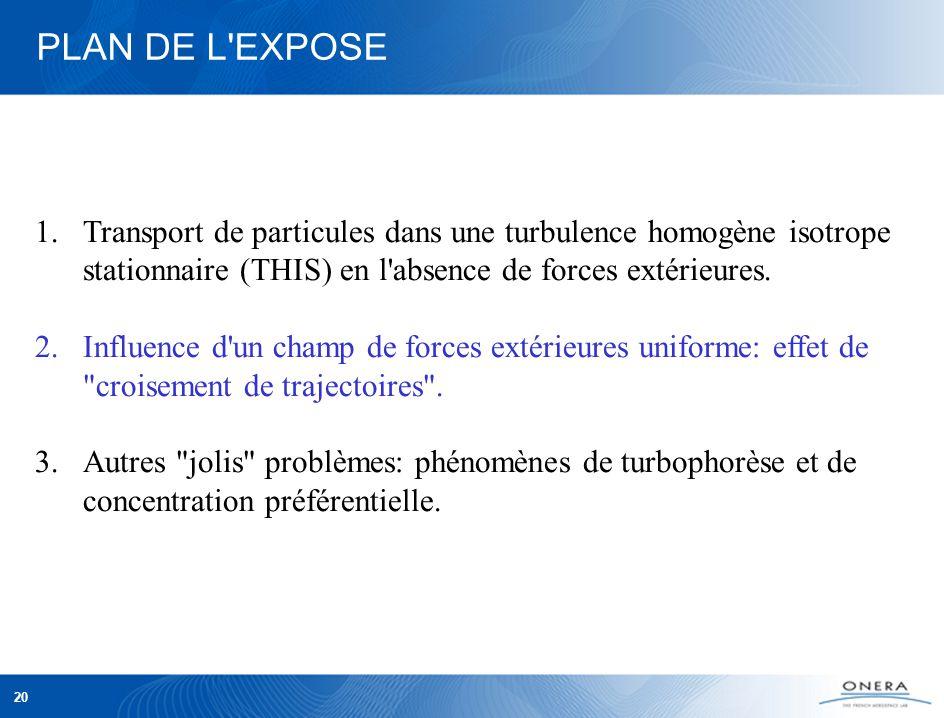 20 PLAN DE L EXPOSE 1.Transport de particules dans une turbulence homogène isotrope stationnaire (THIS) en l absence de forces extérieures.