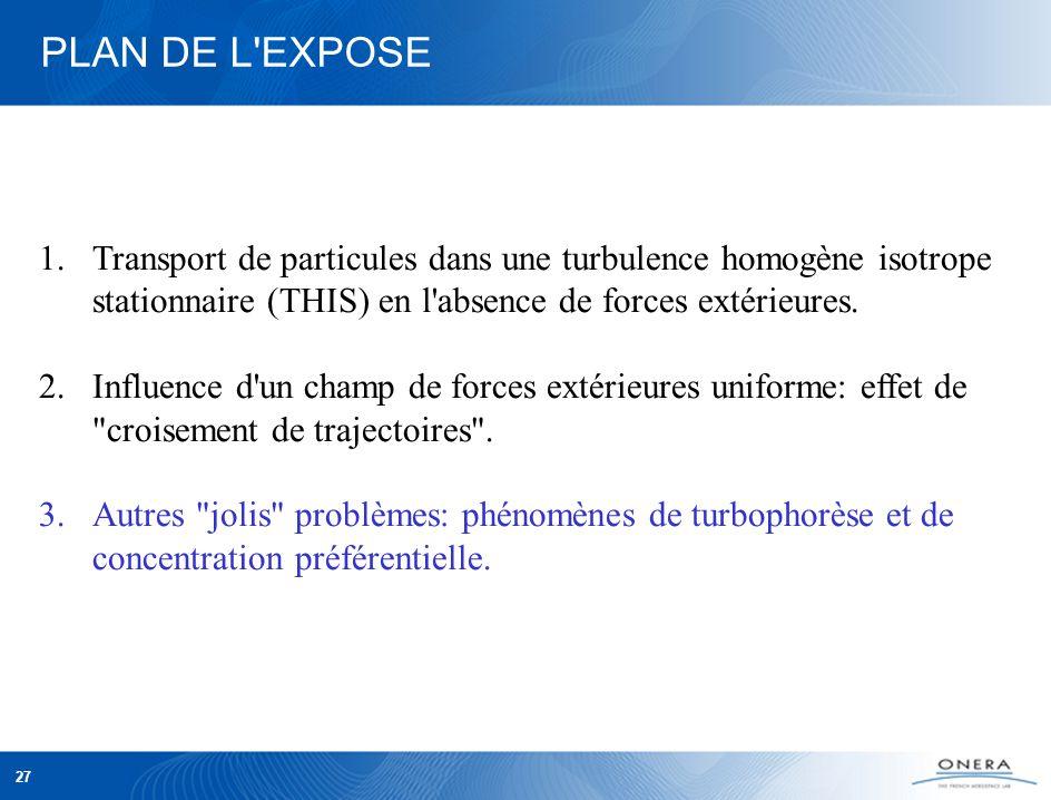 27 PLAN DE L EXPOSE 1.Transport de particules dans une turbulence homogène isotrope stationnaire (THIS) en l absence de forces extérieures.