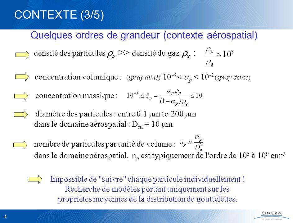 4 diamètre des particules : entre 0.1 m to 200 m dans le domaine aérospatial : D m = 10 m nombre de particules par unité de volume : dans le domaine aérospatial, n p est typiquement de l ordre de 10 3 à 10 9 cm -3 Quelques ordres de grandeur (contexte aérospatial) CONTEXTE (3/5) densité des particules p >> densité du gaz g : concentration volumique : (spray dilué) 10 -6 < p < 10 -2 (spray dense) Impossible de suivre chaque particule individuellement .