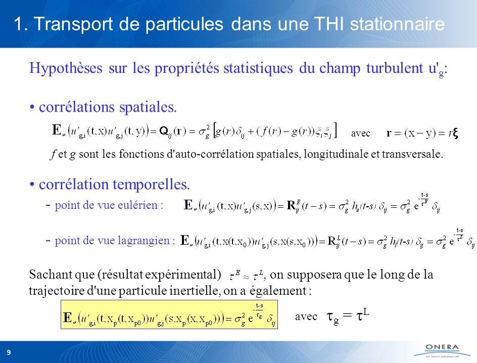 9 Hypothèses sur les propriétés statistiques du champ turbulent u g : corrélations spatiales.