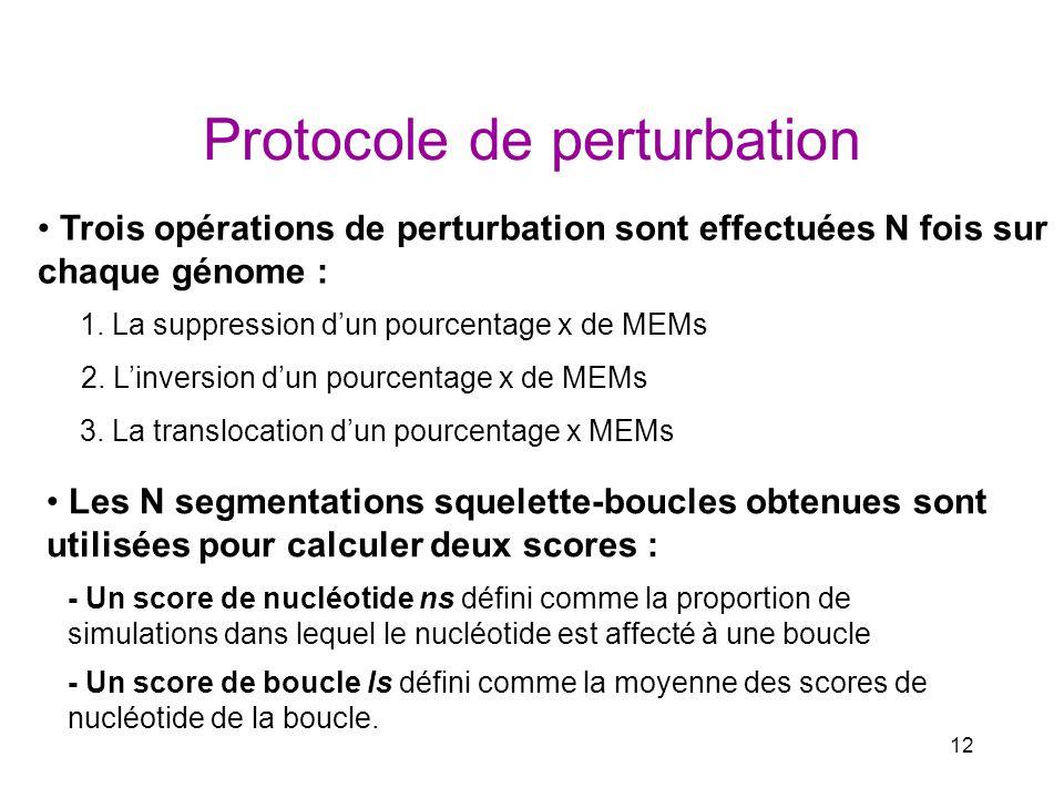 12 Protocole de perturbation Trois opérations de perturbation sont effectuées N fois sur chaque génome : 1. La suppression dun pourcentage x de MEMs 2
