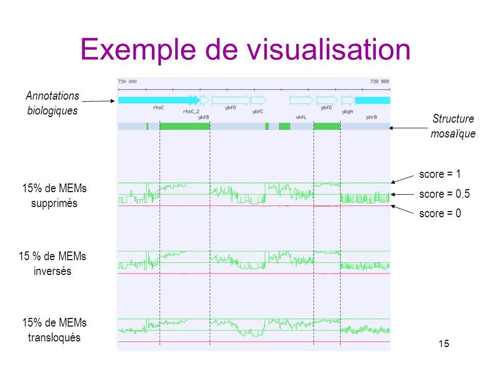 15 Exemple de visualisation 15% de MEMs supprimés 15 % de MEMs inversés 15% de MEMs transloqués Annotations biologiques Structure mosa ï que score = 0