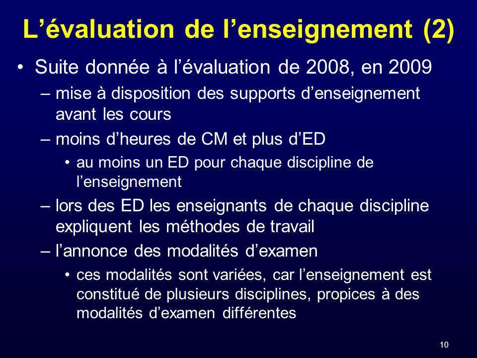 10 Lévaluation de lenseignement (2) Suite donnée à lévaluation de 2008, en 2009 –mise à disposition des supports denseignement avant les cours –moins