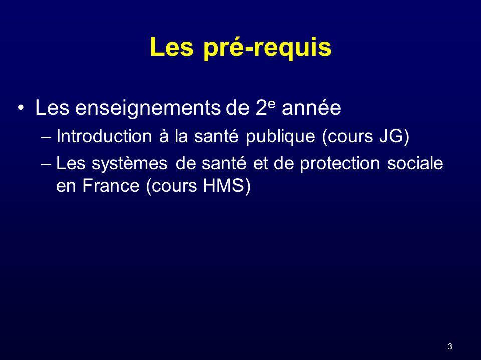 3 Les pré-requis Les enseignements de 2 e année –Introduction à la santé publique (cours JG) –Les systèmes de santé et de protection sociale en France (cours HMS)