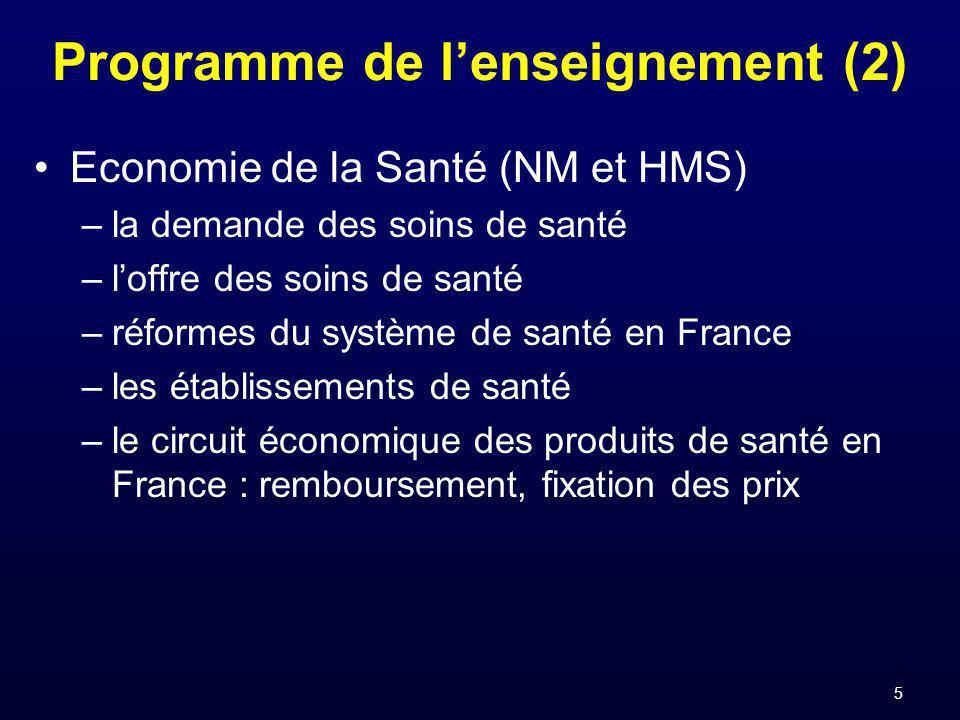 5 Programme de lenseignement (2) Economie de la Santé (NM et HMS) –la demande des soins de santé –loffre des soins de santé –réformes du système de santé en France –les établissements de santé –le circuit économique des produits de santé en France : remboursement, fixation des prix