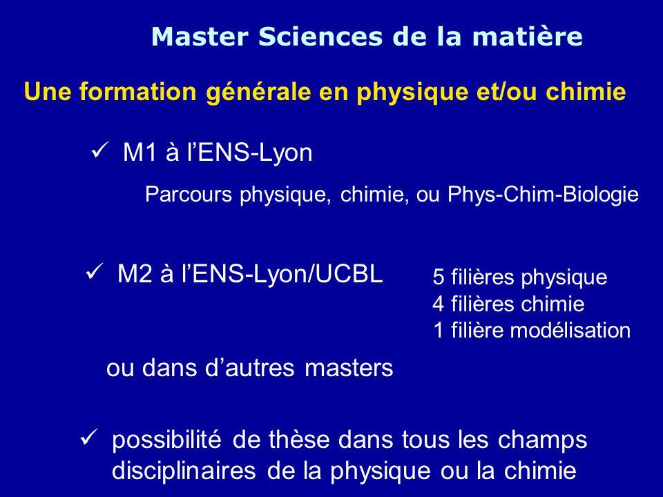 Master Sciences de la matière Une formation générale en physique et/ou chimie M1 à lENS-Lyon Parcours physique, chimie, ou Phys-Chim-Biologie M2 à lEN