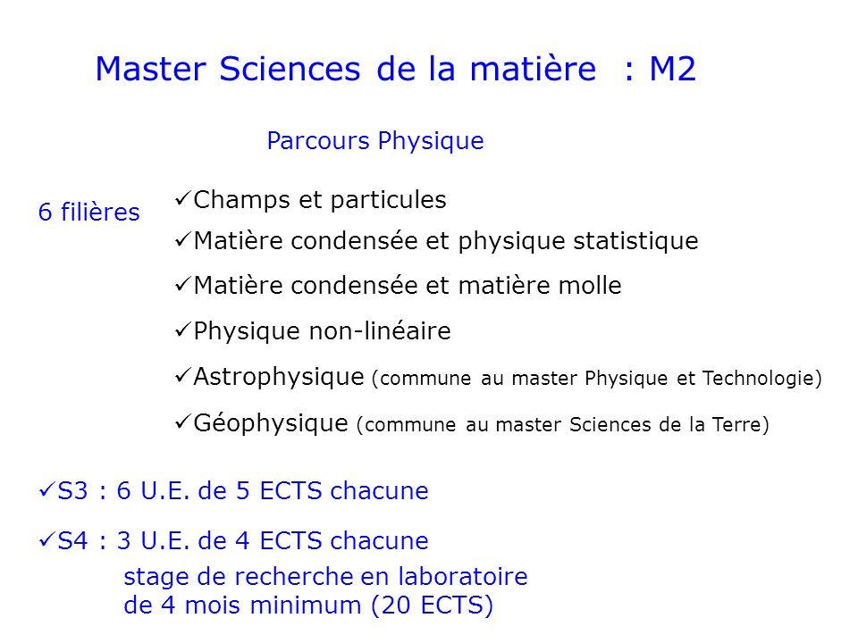 Master Sciences de la matière : M2 Parcours Physique Champs et particules Matière condensée et physique statistique Matière condensée et matière molle
