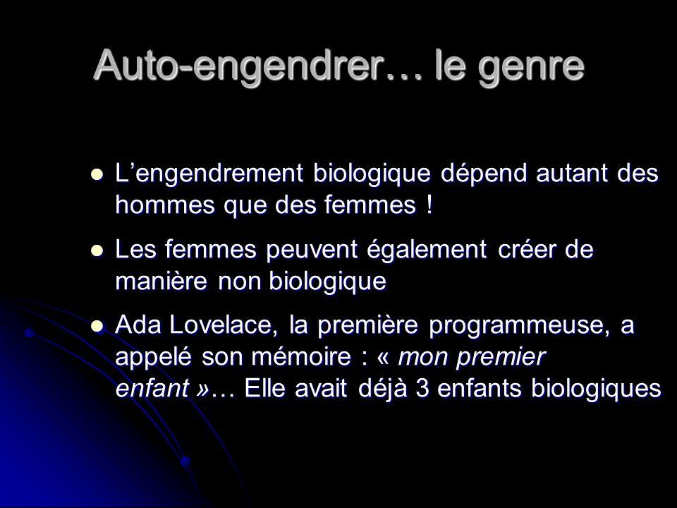 Auto-engendrer… le genre Lengendrement biologique dépend autant des hommes que des femmes .