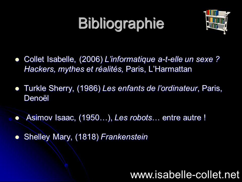 Bibliographie Collet Isabelle, (2006) Linformatique a-t-elle un sexe ? Hackers, mythes et réalités, Paris, LHarmattan Collet Isabelle, (2006) Linforma