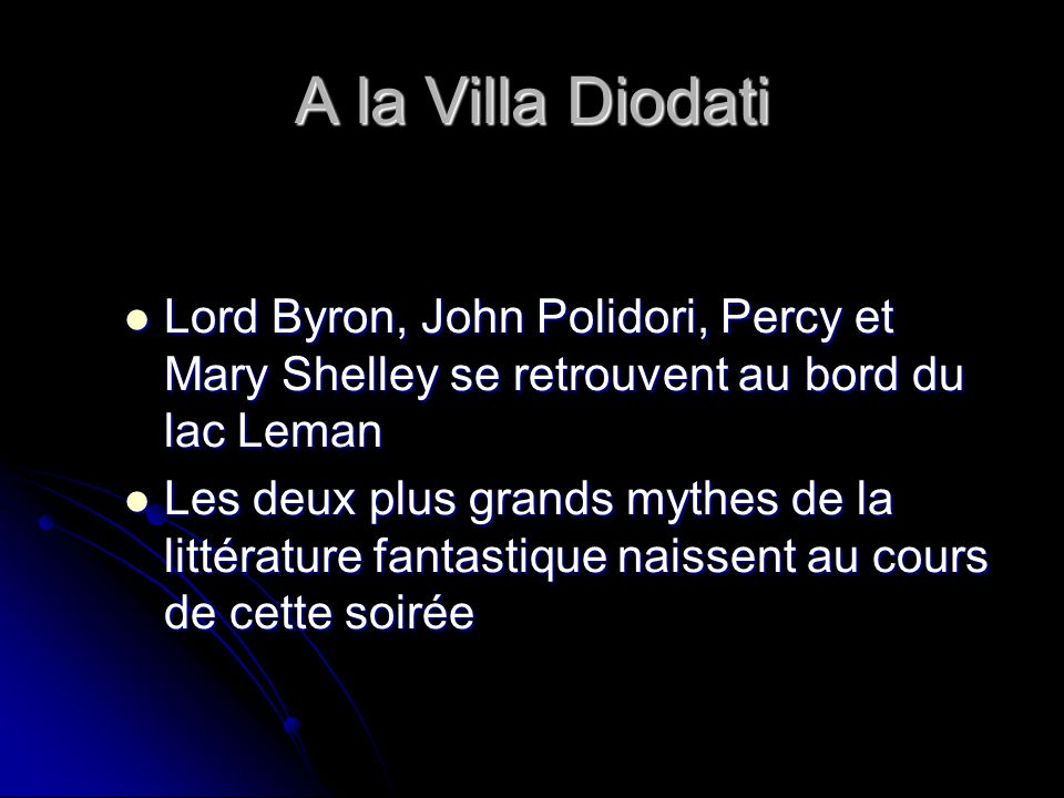 A la Villa Diodati Lord Byron, John Polidori, Percy et Mary Shelley se retrouvent au bord du lac Leman Lord Byron, John Polidori, Percy et Mary Shelle