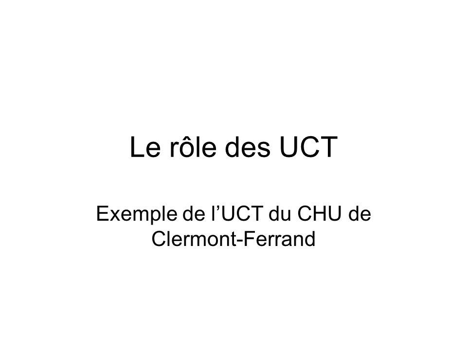 Le rôle des UCT Exemple de lUCT du CHU de Clermont-Ferrand