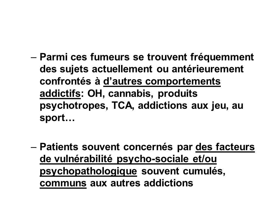 –Parmi ces fumeurs se trouvent fréquemment des sujets actuellement ou antérieurement confrontés à dautres comportements addictifs: OH, cannabis, produ