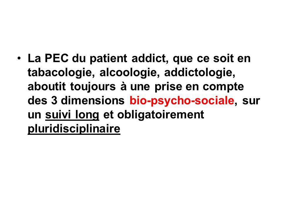 La PEC du patient addict, que ce soit en tabacologie, alcoologie, addictologie, aboutit toujours à une prise en compte des 3 dimensions bio-psycho-soc