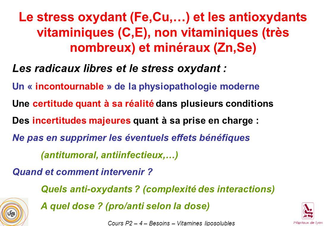Cours P2 – 4 – Besoins – Vitamines liposolubles Le stress oxydant (Fe,Cu,…) et les antioxydants vitaminiques (C,E), non vitaminiques (très nombreux) et minéraux (Zn,Se) Les radicaux libres et le stress oxydant : Un « incontournable » de la physiopathologie moderne Une certitude quant à sa réalité dans plusieurs conditions Des incertitudes majeures quant à sa prise en charge : Ne pas en supprimer les éventuels effets bénéfiques (antitumoral, antiinfectieux,…) Quand et comment intervenir .