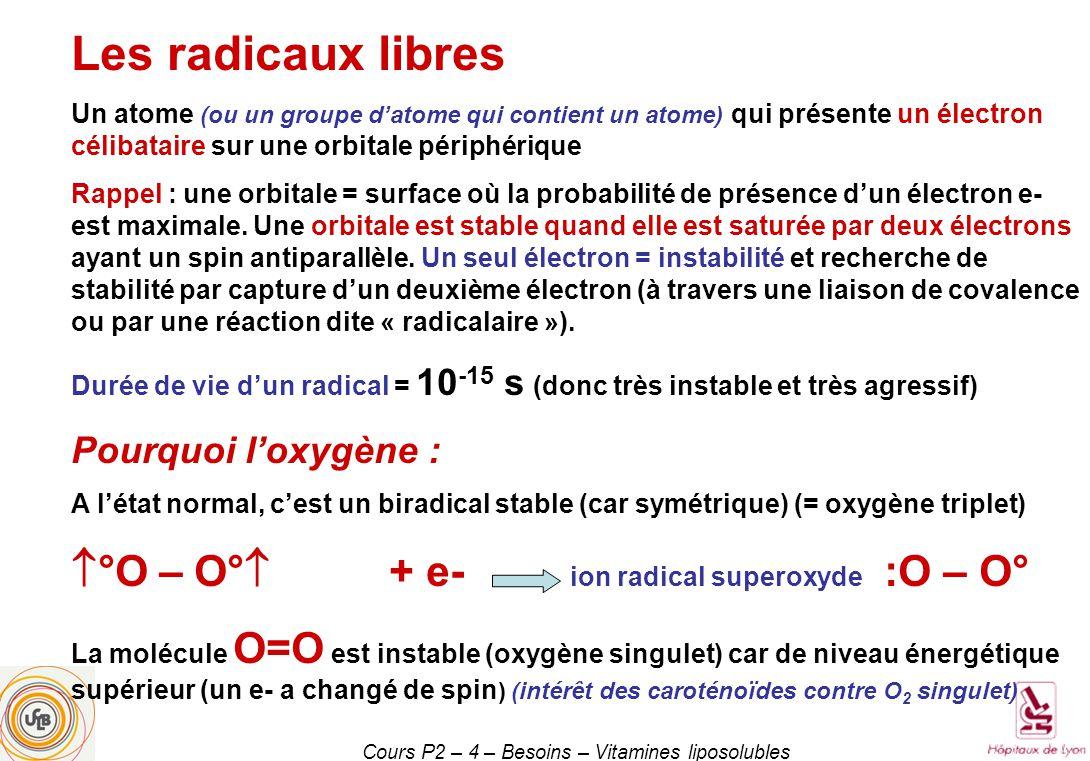Cours P2 – 4 – Besoins – Vitamines liposolubles Les radicaux libres Un atome (ou un groupe datome qui contient un atome) qui présente un électron célibataire sur une orbitale périphérique Rappel : une orbitale = surface où la probabilité de présence dun électron e- est maximale.
