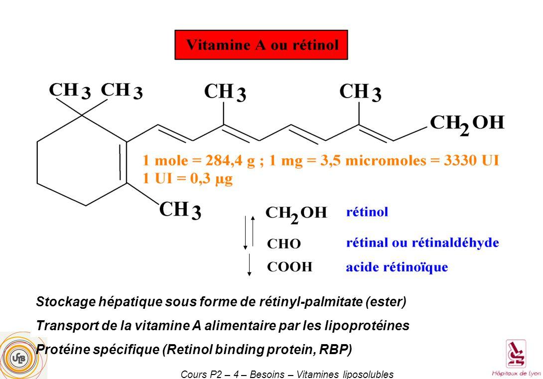 Cours P2 – 4 – Besoins – Vitamines liposolubles Stockage hépatique sous forme de rétinyl-palmitate (ester) Transport de la vitamine A alimentaire par les lipoprotéines Protéine spécifique (Retinol binding protein, RBP)