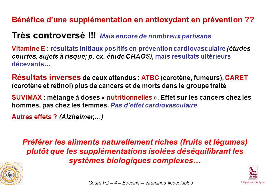 Cours P2 – 4 – Besoins – Vitamines liposolubles Bénéfice dune supplémentation en antioxydant en prévention ?.