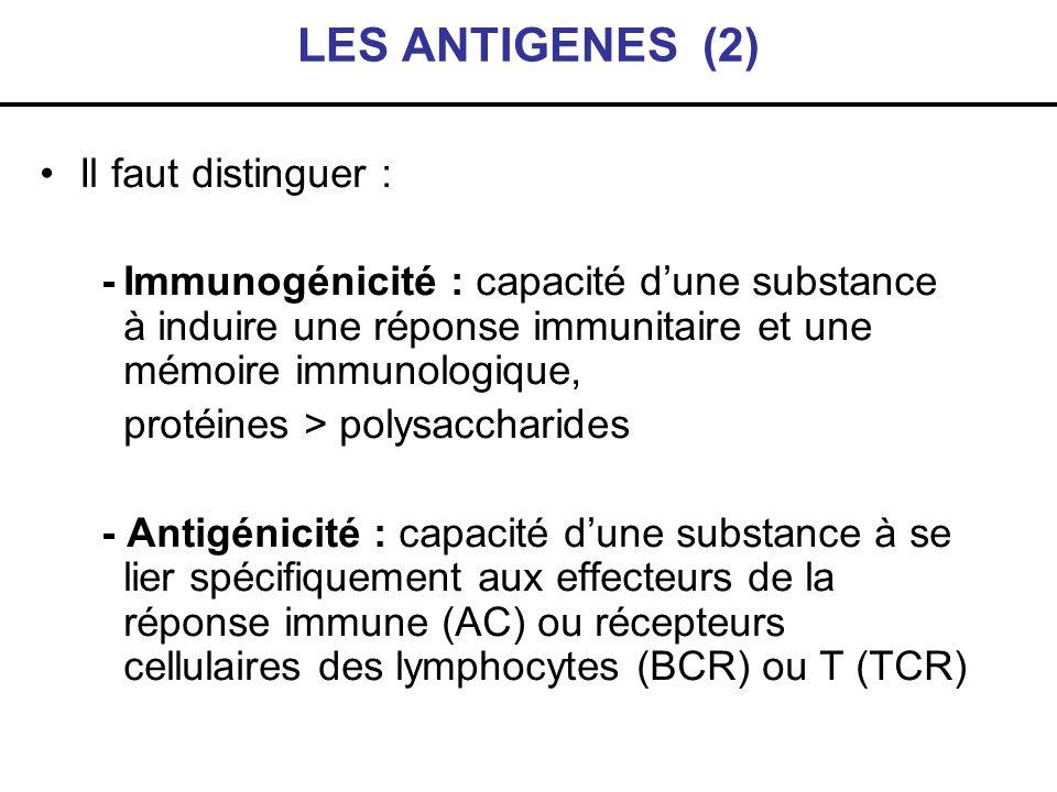 LES ANTIGENES (2) Il faut distinguer : -Immunogénicité : capacité dune substance à induire une réponse immunitaire et une mémoire immunologique, proté