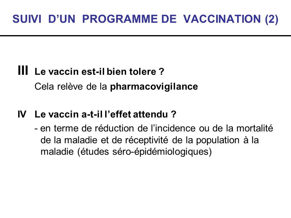 SUIVI DUN PROGRAMME DE VACCINATION (2) III Le vaccin est-il bien tolere ? Cela relève de la pharmacovigilance IV Le vaccin a-t-il leffet attendu ? - e