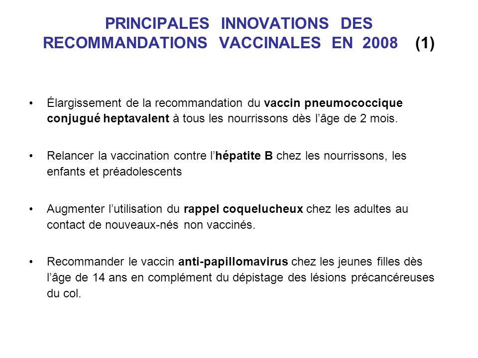 PRINCIPALES INNOVATIONS DES RECOMMANDATIONS VACCINALES EN 2008 (1) Élargissement de la recommandation du vaccin pneumococcique conjugué heptavalent à