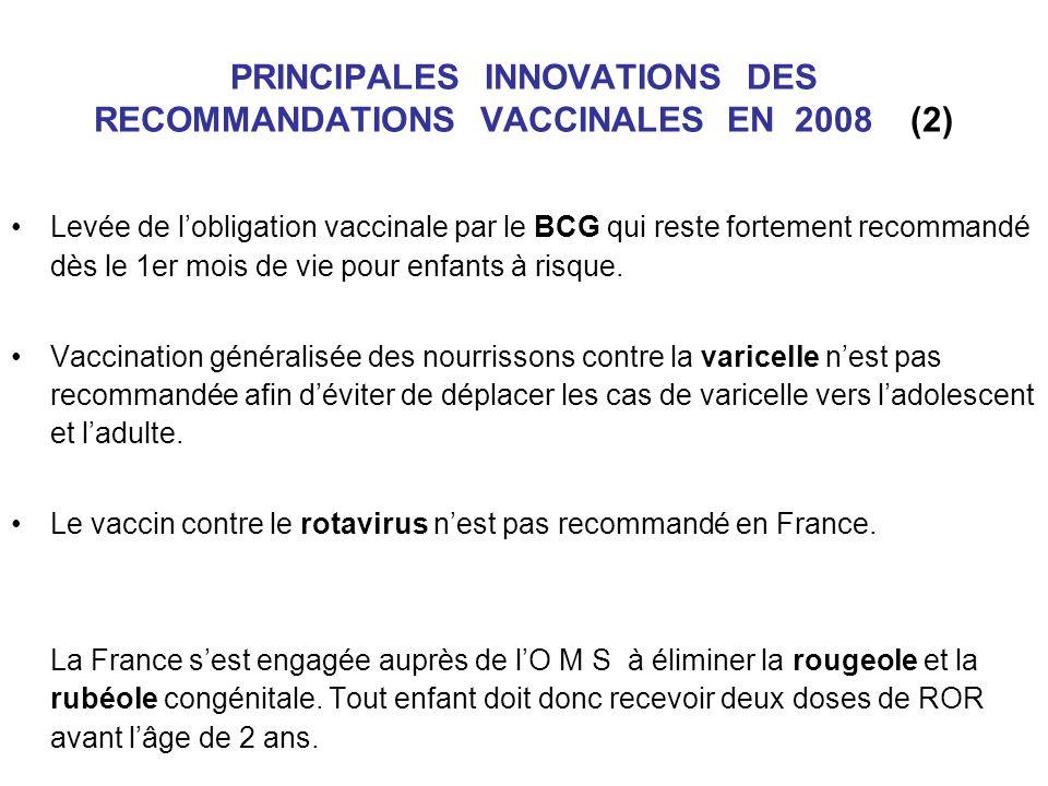 PRINCIPALES INNOVATIONS DES RECOMMANDATIONS VACCINALES EN 2008 (2) Levée de lobligation vaccinale par le BCG qui reste fortement recommandé dès le 1er