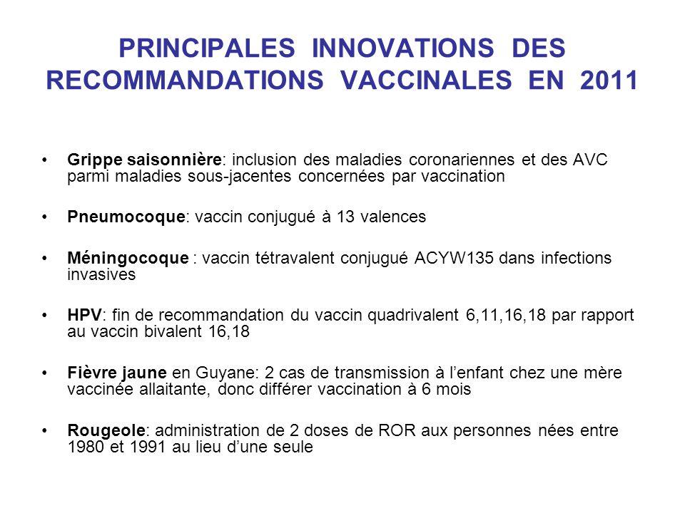 PRINCIPALES INNOVATIONS DES RECOMMANDATIONS VACCINALES EN 2011 Grippe saisonnière: inclusion des maladies coronariennes et des AVC parmi maladies sous