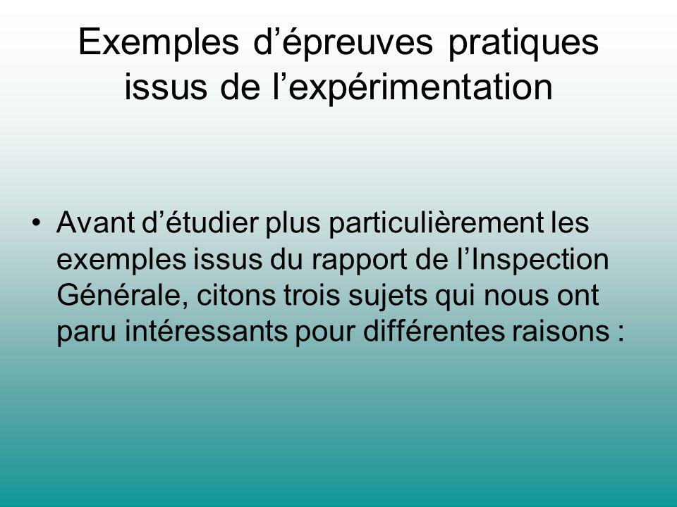 Exemples dépreuves pratiques issus de lexpérimentation Avant détudier plus particulièrement les exemples issus du rapport de lInspection Générale, cit