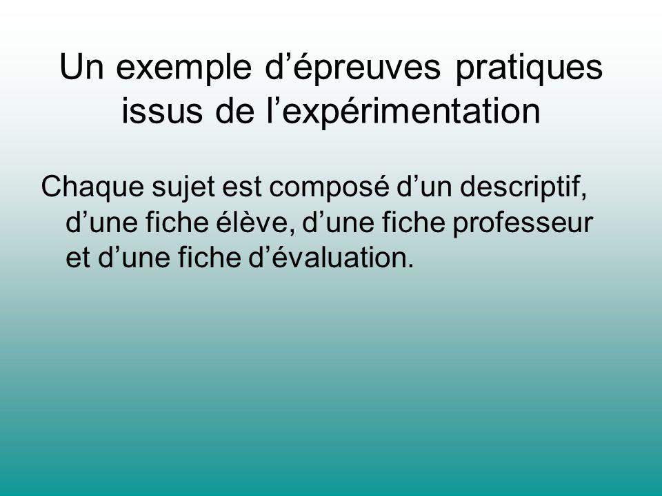 Un exemple dépreuves pratiques issus de lexpérimentation Chaque sujet est composé dun descriptif, dune fiche élève, dune fiche professeur et dune fich