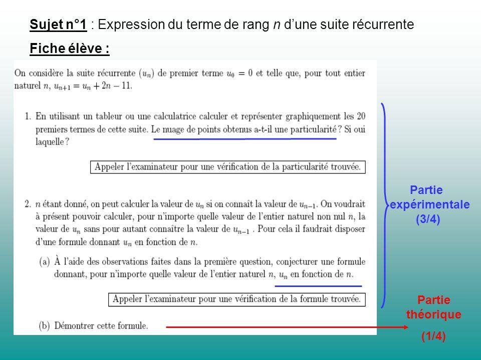 Partie expérimentale (3/4) Partie théorique (1/4) Sujet n°1 : Expression du terme de rang n dune suite récurrente Fiche élève :