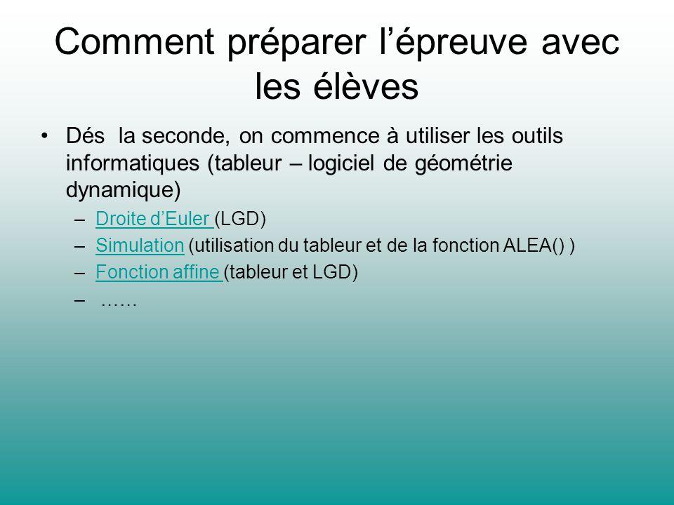 Comment préparer lépreuve avec les élèves Dés la seconde, on commence à utiliser les outils informatiques (tableur – logiciel de géométrie dynamique)