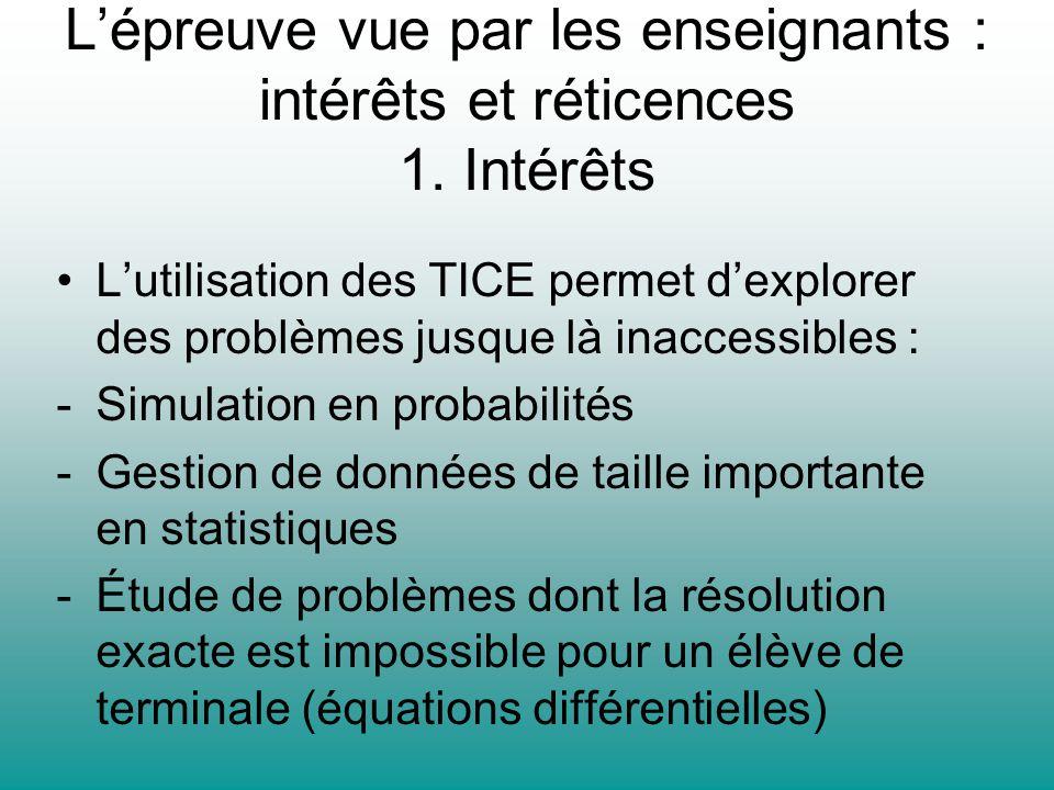 Lépreuve vue par les enseignants : intérêts et réticences 1. Intérêts Lutilisation des TICE permet dexplorer des problèmes jusque là inaccessibles : -