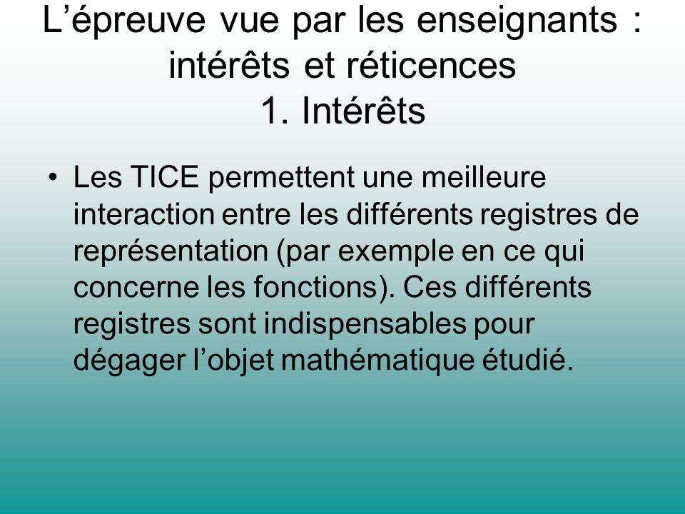 Lépreuve vue par les enseignants : intérêts et réticences 1. Intérêts Les TICE permettent une meilleure interaction entre les différents registres de