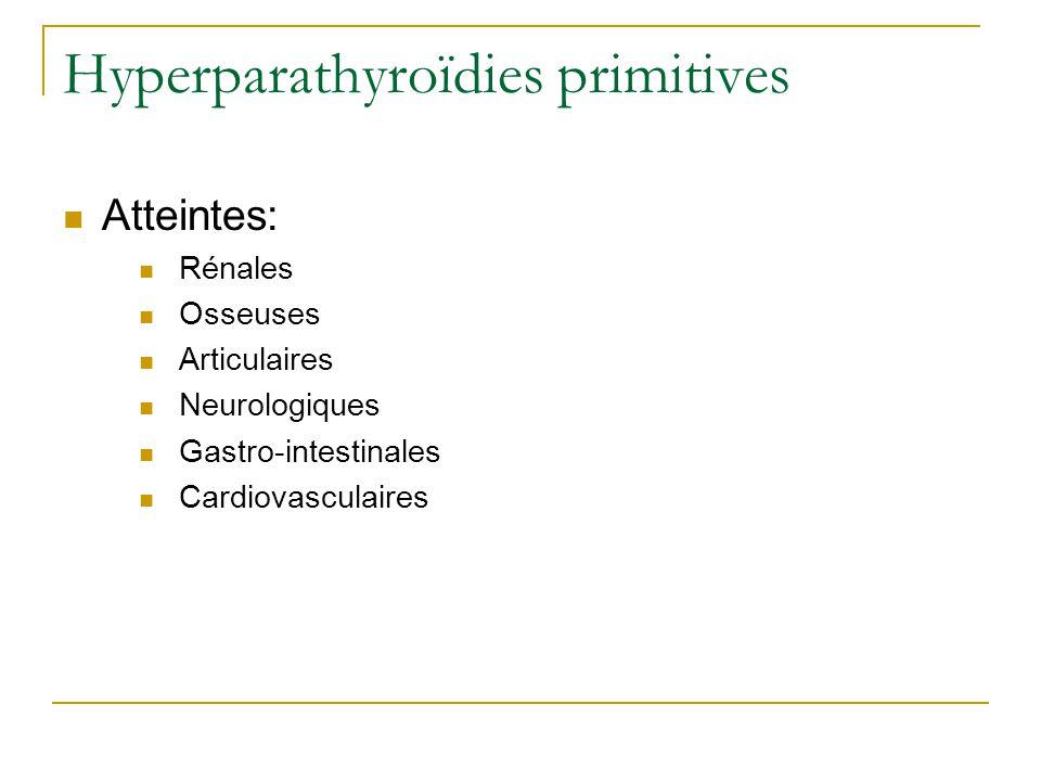 Hyperparathyroïdies primitives Atteintes: Rénales Osseuses Articulaires Neurologiques Gastro-intestinales Cardiovasculaires