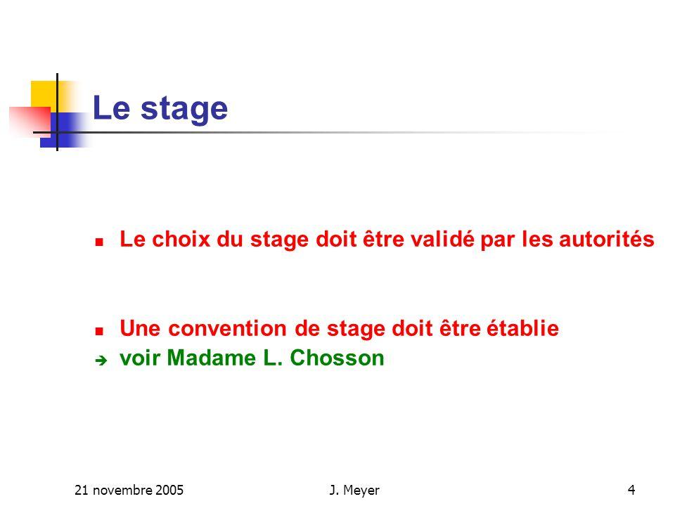 21 novembre 2005J.Meyer5 Le stage (…..