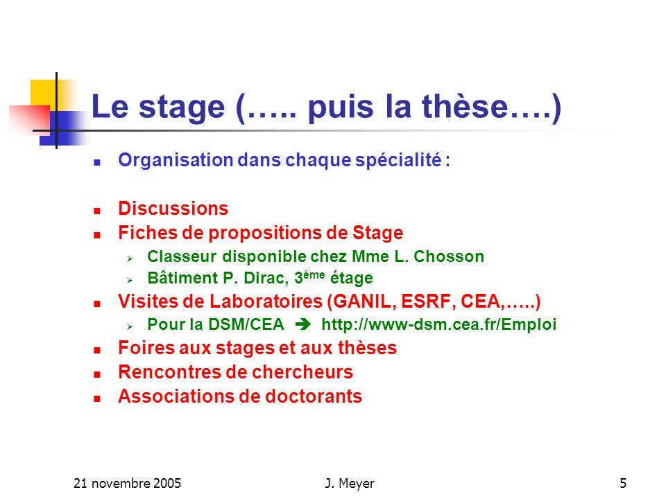21 novembre 2005J. Meyer5 Le stage (…..