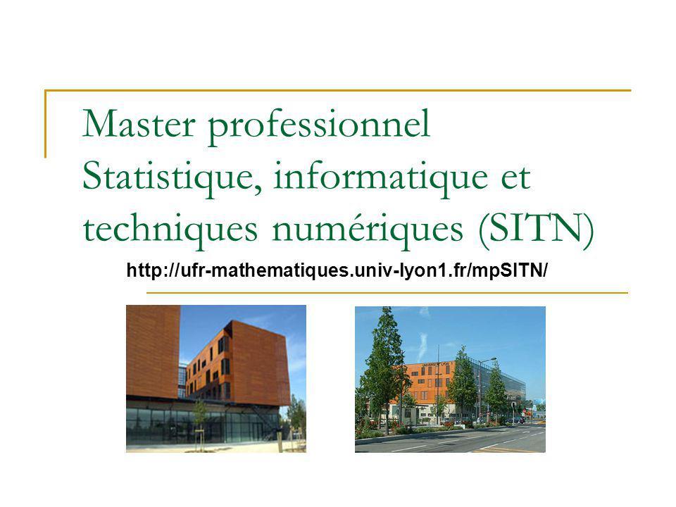 Master professionnel Statistique, informatique et techniques numériques (SITN) http://ufr-mathematiques.univ-lyon1.fr/mpSITN/