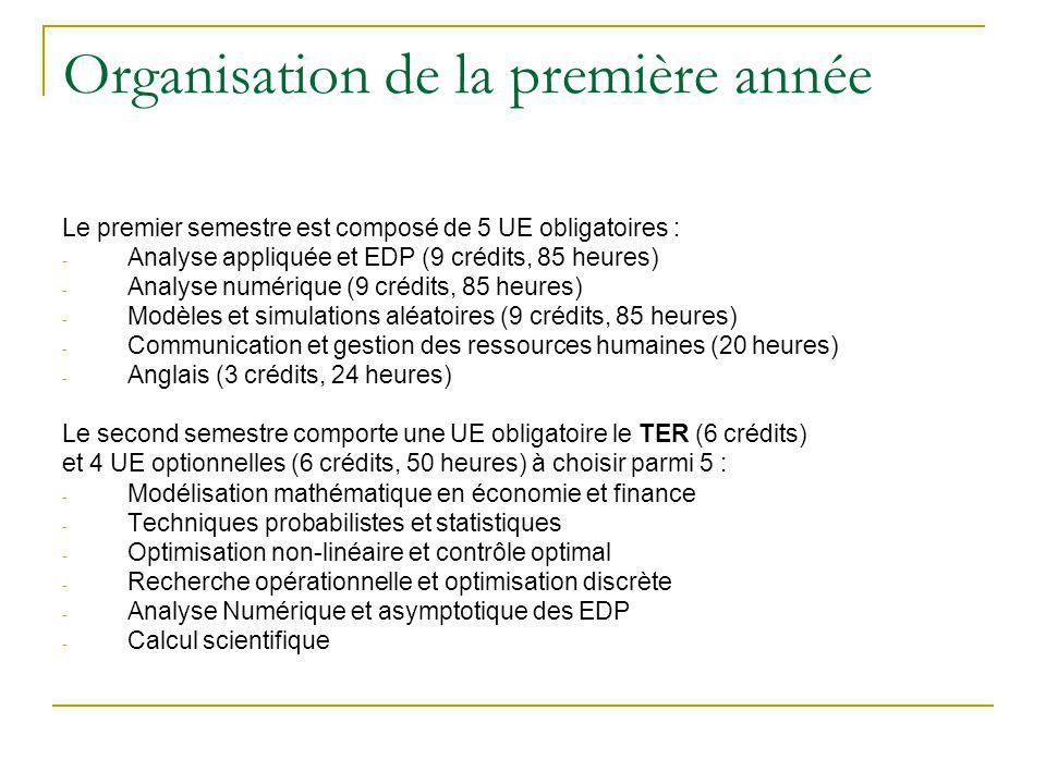 Organisation de la deuxième année Le semestre 3 est composé dune UE optionnelle - Probabilités-statistique ou analyse numérique (4 crédits, 48 heures) et de 4 UE obligatoires - Outils de développement informatique (8 crédits, 96 heures) - Analyse des données, classification, logiciels (5 crédits, 60 heures) - Analyse multi-échelle des équations différentielles, logiciels (5 crédits, 60 heures) - Anglais (3 crédits, 30 heures) Le semestre 4 comporte un stage (4 à 6 mois, 20 crédits) et de 5 UE optionnelles (3 crédits, 24 heures) à choisir parmi 12 : Statistique : - Inférence de Monte Carlo - Plans d expériences - Analyse statistique en biologie moléculaire - Théorie et pratique des enquêtes par sondages Informatique - Logiciels de statistiques - approche POO - Systèmes et réseaux informatiques - Ordre et structure hiérarchique - Signaux et communication Techniques numériques - Méthodes numériques en optimisation - Contrôle optimal des systèmes d équations différentielles et applications - Méthodes numériques pour la dynamique des fluides - Méthodes de décomposition de domaines