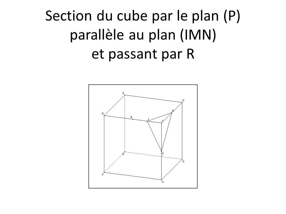 Section du cube par le plan (P) parallèle au plan (IMN) et passant par R