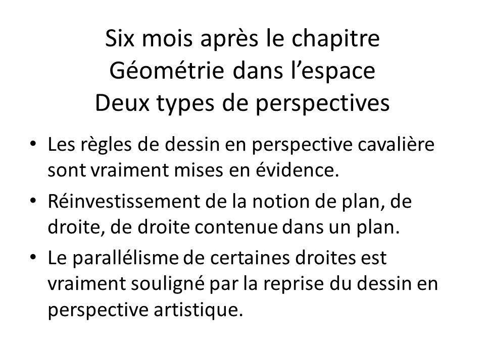 Six mois après le chapitre Géométrie dans lespace Deux types de perspectives Les règles de dessin en perspective cavalière sont vraiment mises en évidence.