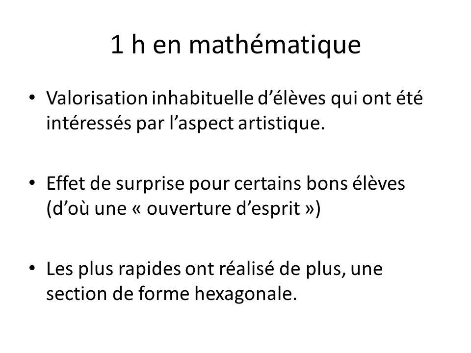 1 h en mathématique Valorisation inhabituelle délèves qui ont été intéressés par laspect artistique. Effet de surprise pour certains bons élèves (doù