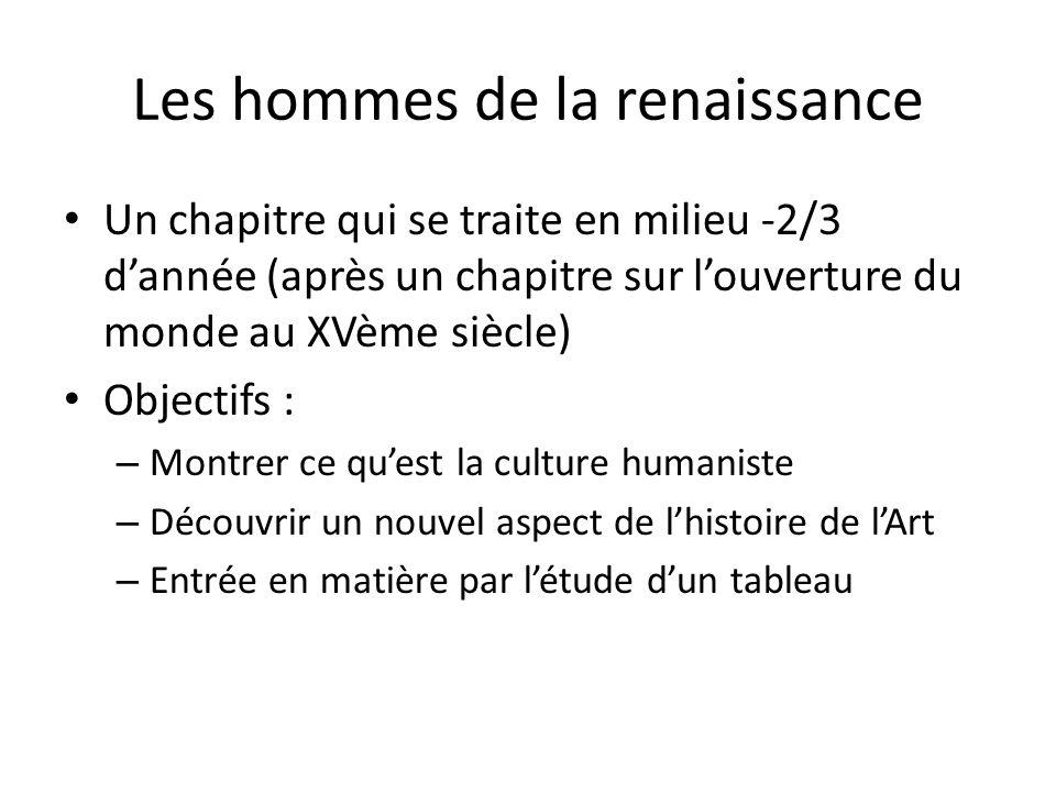 Les hommes de la renaissance Un chapitre qui se traite en milieu -2/3 dannée (après un chapitre sur louverture du monde au XVème siècle) Objectifs : –