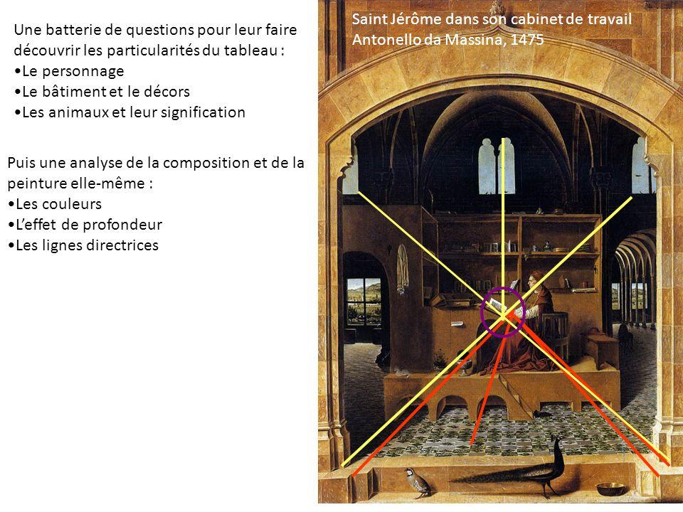 Saint Jérôme dans son cabinet de travail Antonello da Massina, 1475 Une batterie de questions pour leur faire découvrir les particularités du tableau