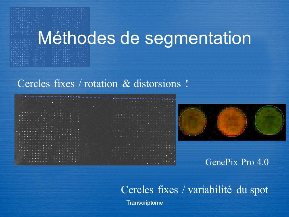 Transcriptome Méthodes de segmentation Cercles fixes / rotation & distorsions ! Cercles fixes / variabilité du spot GenePix Pro 4.0
