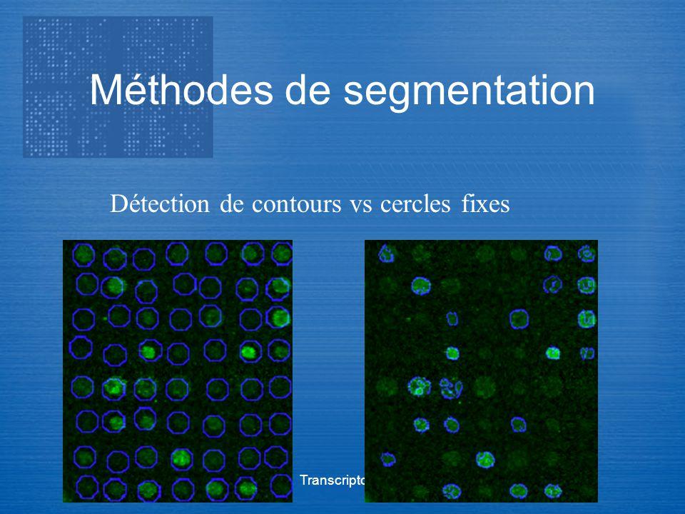 Transcriptome Méthodes de segmentation Détection de contours vs cercles fixes
