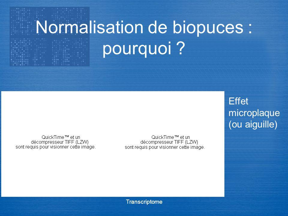Transcriptome Normalisation de biopuces : pourquoi ? Effet microplaque (ou aiguille)